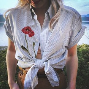 Hand Embroidered Poppy Striped Top